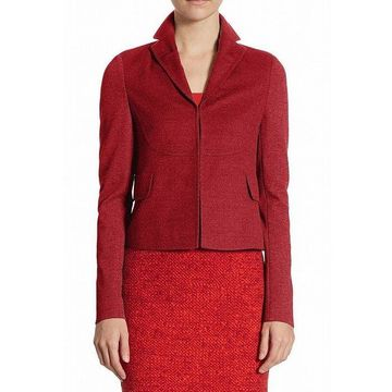 Akris Red Notched Collar Women's 8 Two-Pocket Wool Blazer Jacket