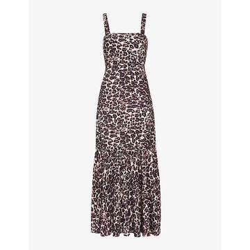 Whistles Womens Multi-coloured Eleta Leopard-print Woven Midi Dress 8