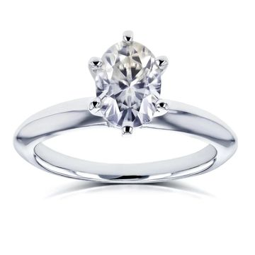Annello by Kobelli 14k White Gold 7/8 Carat Oval Moissanite 6-prong Solitaire Engagement Ring
