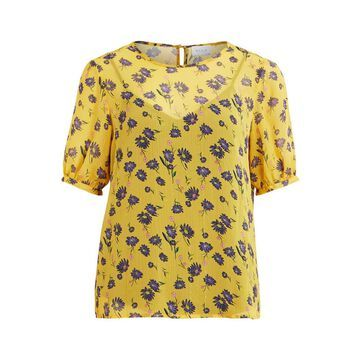 **Vila Yellow Floral Print Blouse