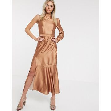 Liquorish satin midaxi dress with one shoulder in caramel-Brown