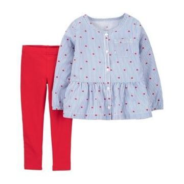 Carter's Toddler Girls Heart Top and Legging Set, 2 Piece