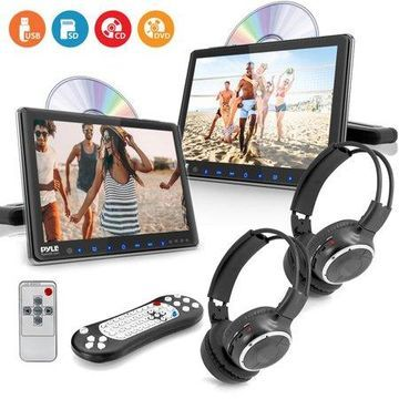 PYLE PLHRDVD90KT - Dual Vehicle Headrest Mount CD/DVD Player System - Car Video Entertainment Display Monitors with Wireless Headphones (9.4 -inch)