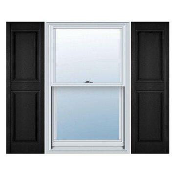 Builders Edge, Standard Two Equal Panels, Raised Panel Shutters, Black
