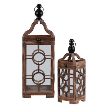 Lanterns With Finial Top, Ring Handle and Double Circle Design, 2-Piece Set
