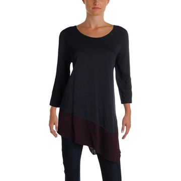 Three Dots Womens Pullover Top Reversisable Colorblock