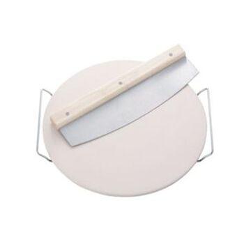 Household Essentials Round Ceramic Pizza Stone w/ Slicer