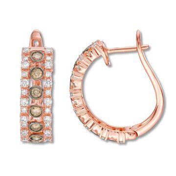 Le Vian Diamond Hoop Earrings 7/8 ct tw 14K Strawberry Gold