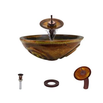 MR Direct Orange, Gold Tempered Glass Vessel Round Bathroom Sink with Faucet (Drain Included)