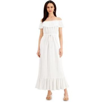 Style & Co Petite Cotton Off-The-Shoulder Eyelet Maxi Dress, Created for Macy's