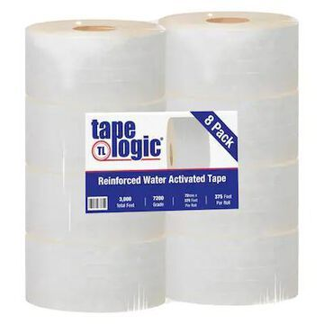 Tape Logic #7200 Reinforced Water Activated Tape, 72mm x 375, White, 8/Case (T9067200W) | Quill