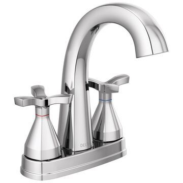 Delta Stryke; Chrome 2-Handle 4-in Centerset WaterSense Bathroom Sink Faucet with Drain and Deck Plate | 257756-MPU-DST