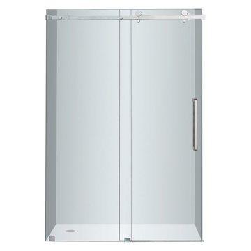 Aston Moselle Completely Frameless Sliding Shower Door, Chrome, 48