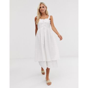 Y.A.S broderie ruffle detail midi dress
