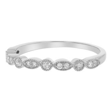 Beverly Hills Charm 10k Gold 1/5ct TDW Diamond Anniversary Stackable Vintage Band - White H-I