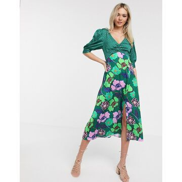 Liquorish satin midi dress in green floral