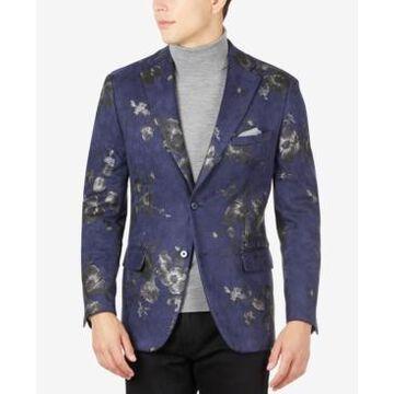 Tallia Men's Slim-Fit Floral-Print Suede Blazer
