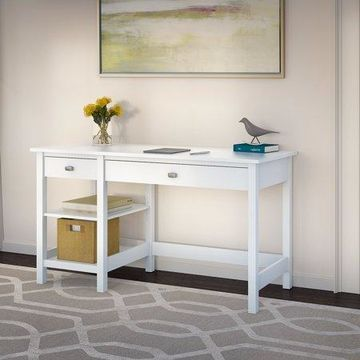 Bush Furniture Broadview Computer Desk with Shelves in Pure White