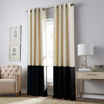 CHF Kendall Blackout Window Curtain, Beig/Green, 50X95