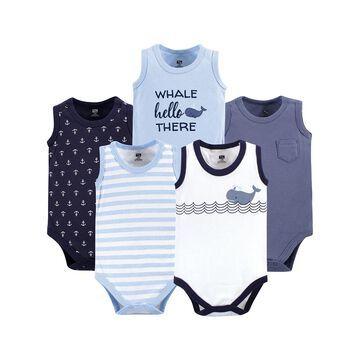 Hudson Baby Boys' Infant Bodysuits Sailor - Blue & White Whale Sleeveless Bodysuit Set - Newborn & Infant