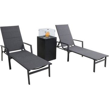 Hanover Halsted 3-Piece Sling Lounge Set featuring a 40,000 BTU Column Fire Pit with Glass Burner Enclosure, Gray
