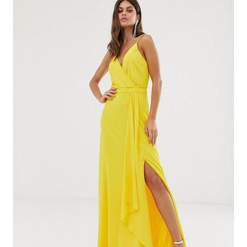 TFNC cami wrap maxi dress with fishtail in yellow
