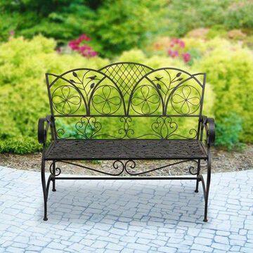 Alpine Corporation Artful Metal Garden Bench w/ Leaf Pattern, 38 Inch Tall