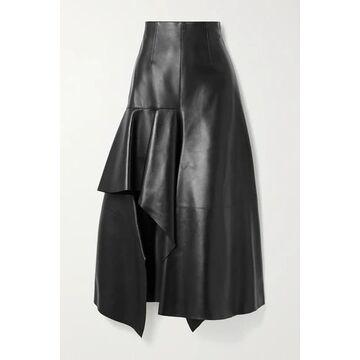Alexander McQueen - Draped Leather Skirt - Black