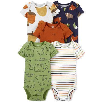 Carter's Baby Boys 5-Pack Short-Sleeve Printed Cotton Bodysuits