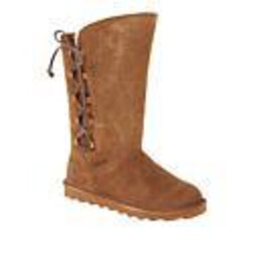 BEARPAW Rita Suede Sheepskin Laced Boot with NeverWet - Green