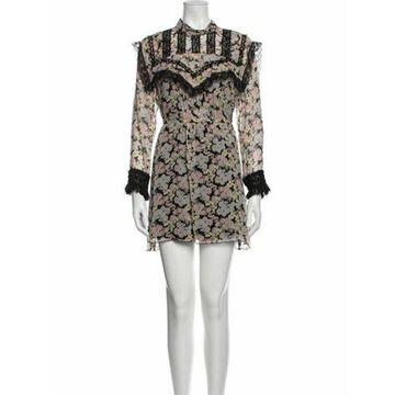 Floral Print Mini Dress w/ Tags Black