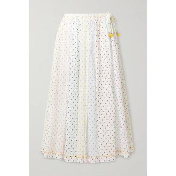 Zimmermann - Bellitude Tasseled Paneled Polka-dot Cotton-voile Midi Skirt - Ivory