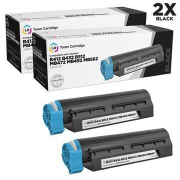 LD Products Compatible Toner Cartridge Replacement for Okidata 45807101 (Black, 2-Pack)