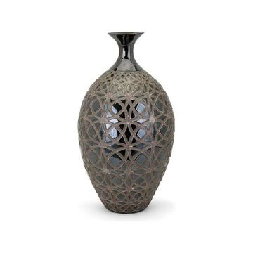 Imax Trisha Earthenware And Painting Vase with Gray Finish 95211