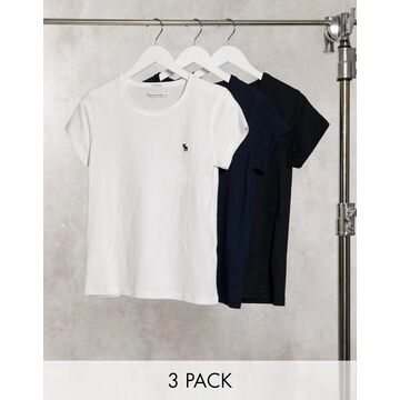 Abercrombie & Fitch 3-pack crew neck T-shirts in multicolor