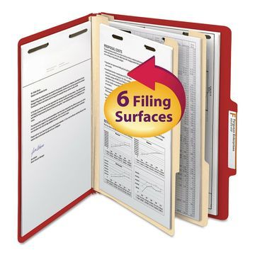 Smead Top Tab Classification Folder Two Dividers Six-Section Letter Red 10/Box