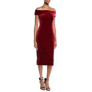 Off-the-Shoulder Velvet Sheath Dress