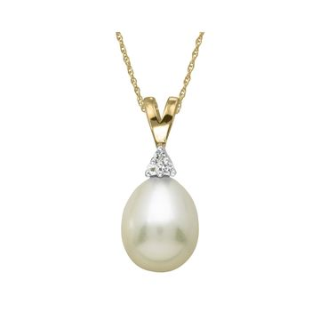 Certified Sofia Cultured Freshwater Pearl 14K Yellow Gold Pendant Necklace