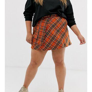 ASOS DESIGN Curve check mini wrap skirt with pockets