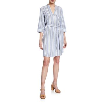 Striped 3/4-Sleeve Raw-Hem Dress