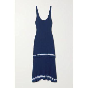 Altuzarra - Shinobu Layered Tie-dyed Ribbed Pima Cotton-jersey Midi Dress - Navy