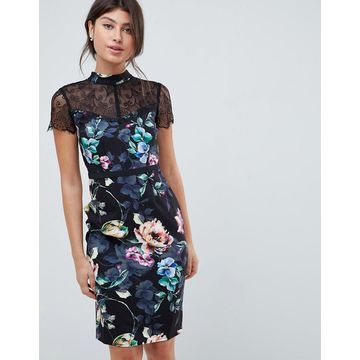 Little Mistress printed lace sleeve pencil dress