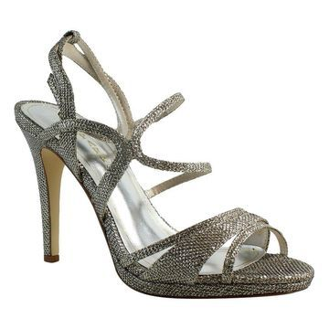 Caparros Womens Topaz Silver Ankle Strap Heels Size 9