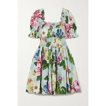 Dolce & Gabbana - Ruffled Shirred Floral-print Cotton-poplin Mini Dress - Blue