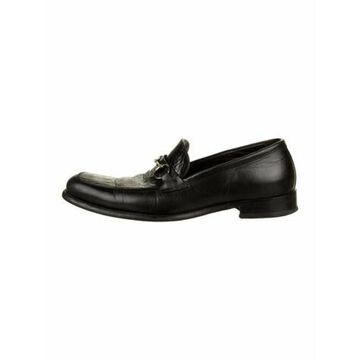 Embossed Leather Dress Loafers Black