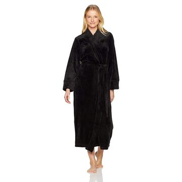 Natori Women's Velour Robe, Black, Extra Large, Black, Size X-Large