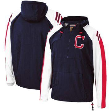 Mitchell & Ness Cleveland Indians Navy Anorak Raglan Half-Zip Pullover Hoodie