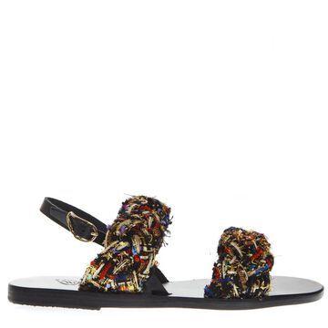 Ancient Greek Sandals Spianada Multicolor Woven Fabrci Sandals