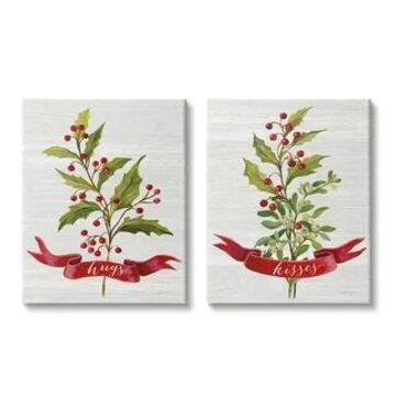 Stupell Industries Hugs and Kisses Christmas Holly Branch Winter Seasonal,2pc, Canvas Wall Art (24 x 30)