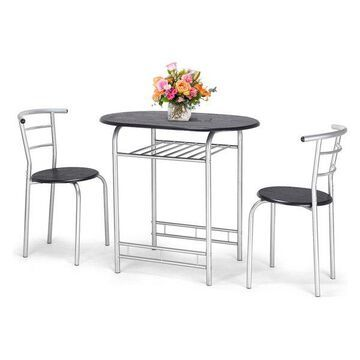 Costway 3 PCS Bistro Dining Set Table and 2 Chairs Kitchen Furniture Pub Home